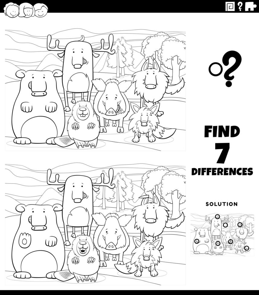Diferencias juego educativo con animales página de libro para colorear vector