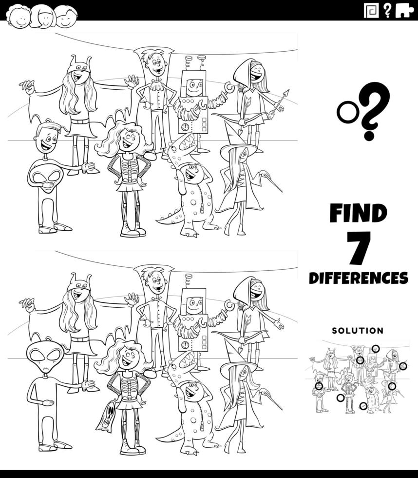 Diferencias tarea con personajes de halloween página de libro para colorear vector