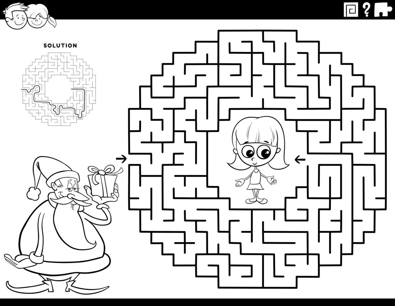 juego de laberinto, con, santa claus, libro colorear, página vector