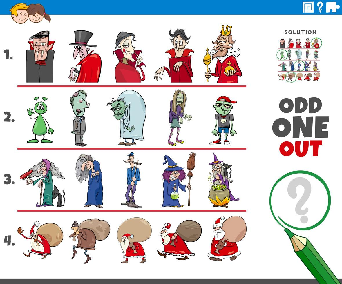 Odd one out game with wild holiday characters vector
