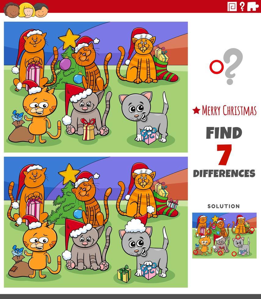Diferencias tarea educativa para niños con gatos. vector