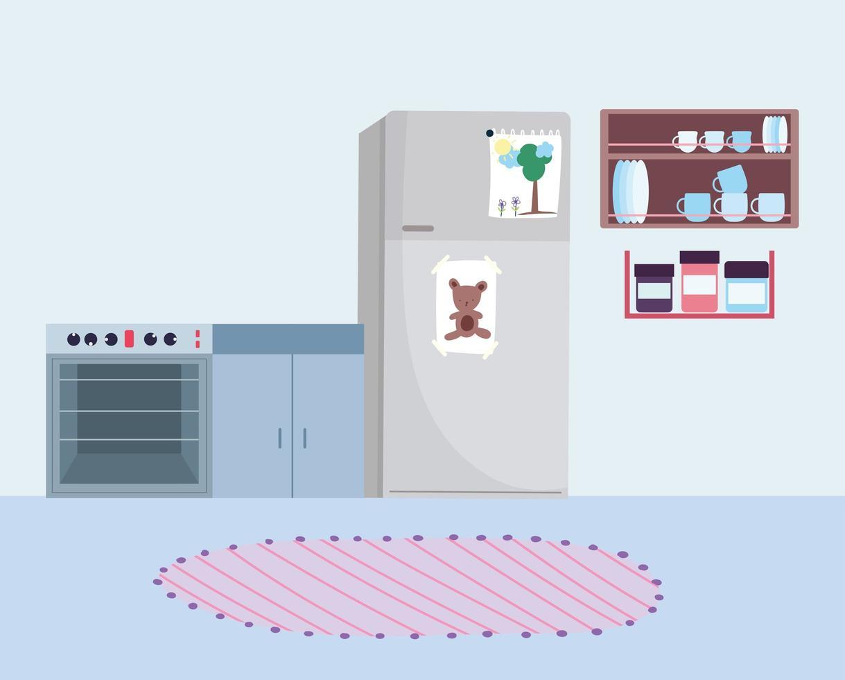 acogedor interior de cocina vector