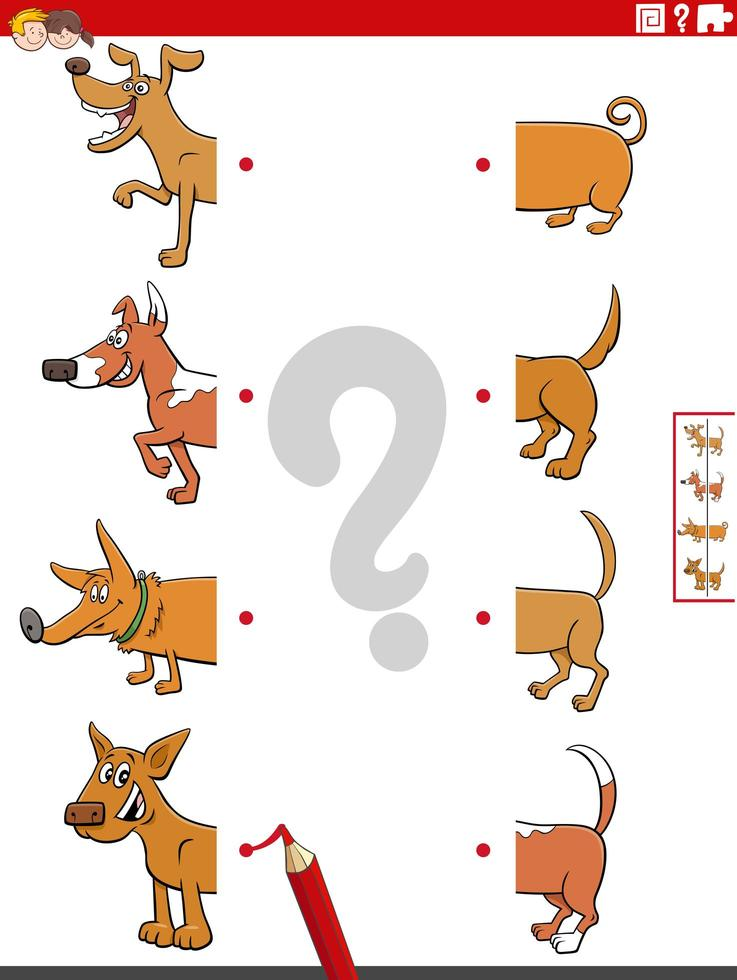Match halves of pictures with dogs educational task vector