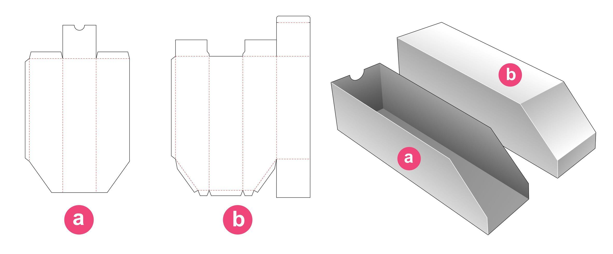 caja de embalaje biselada con plantilla troquelada de bandeja de inserción vector