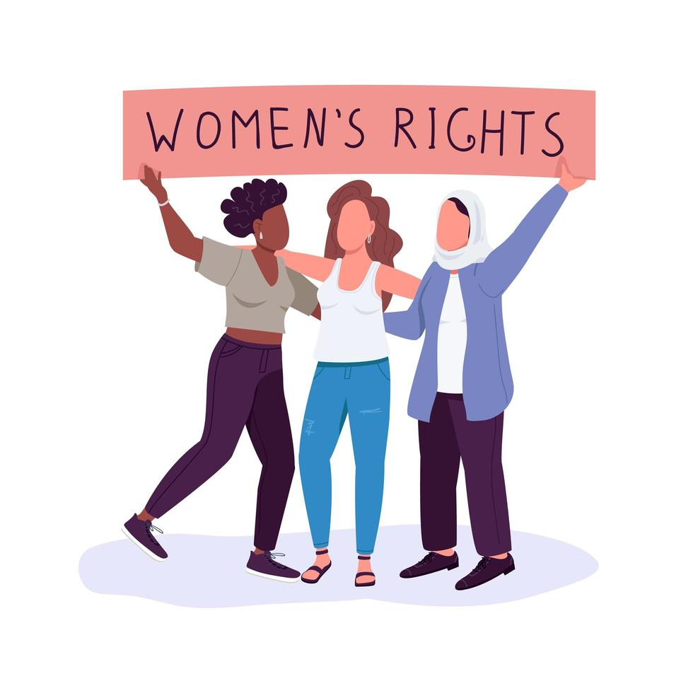 Women rights, flat color vector with faceless characters