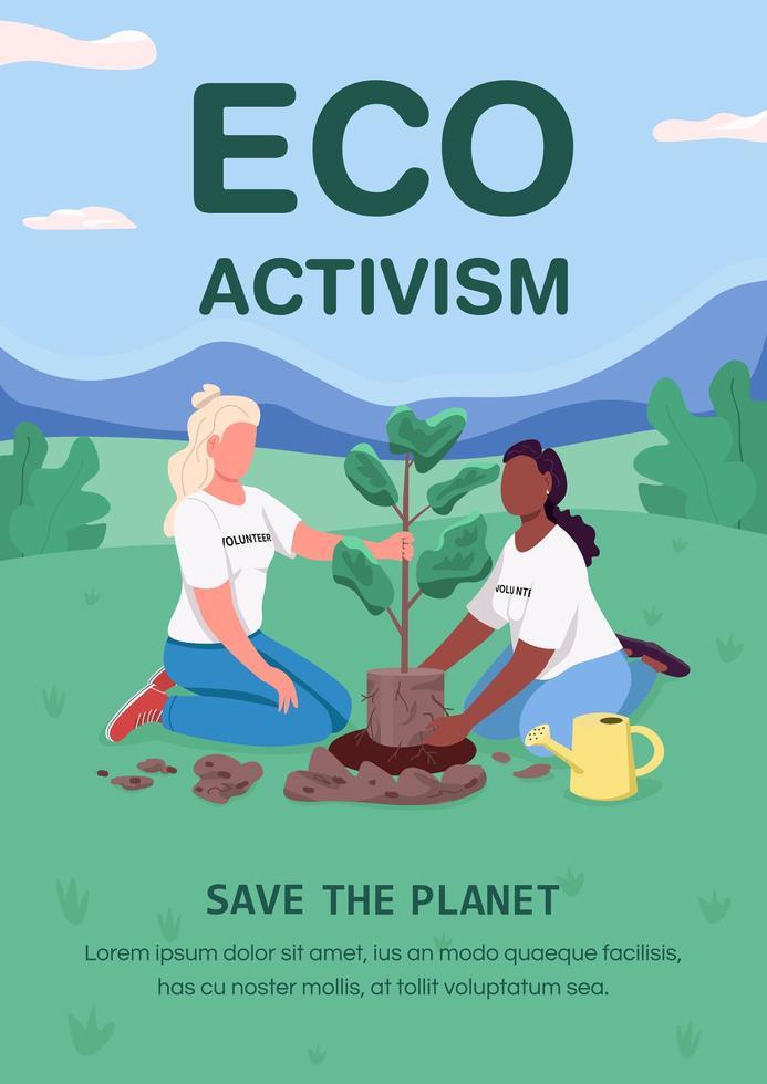 cartel de activismo ecológico, plantilla vectorial plana vector