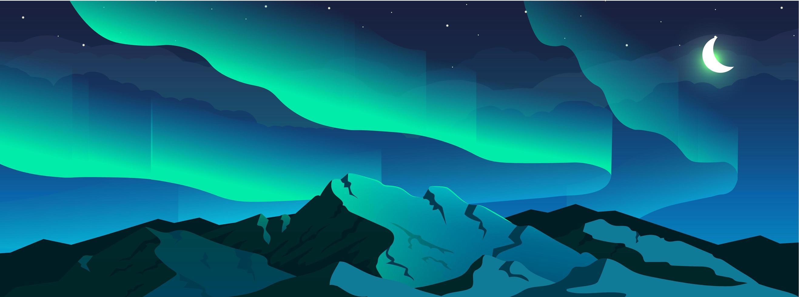 Ilustración de vector de color plano de fenómeno de aurora boreal