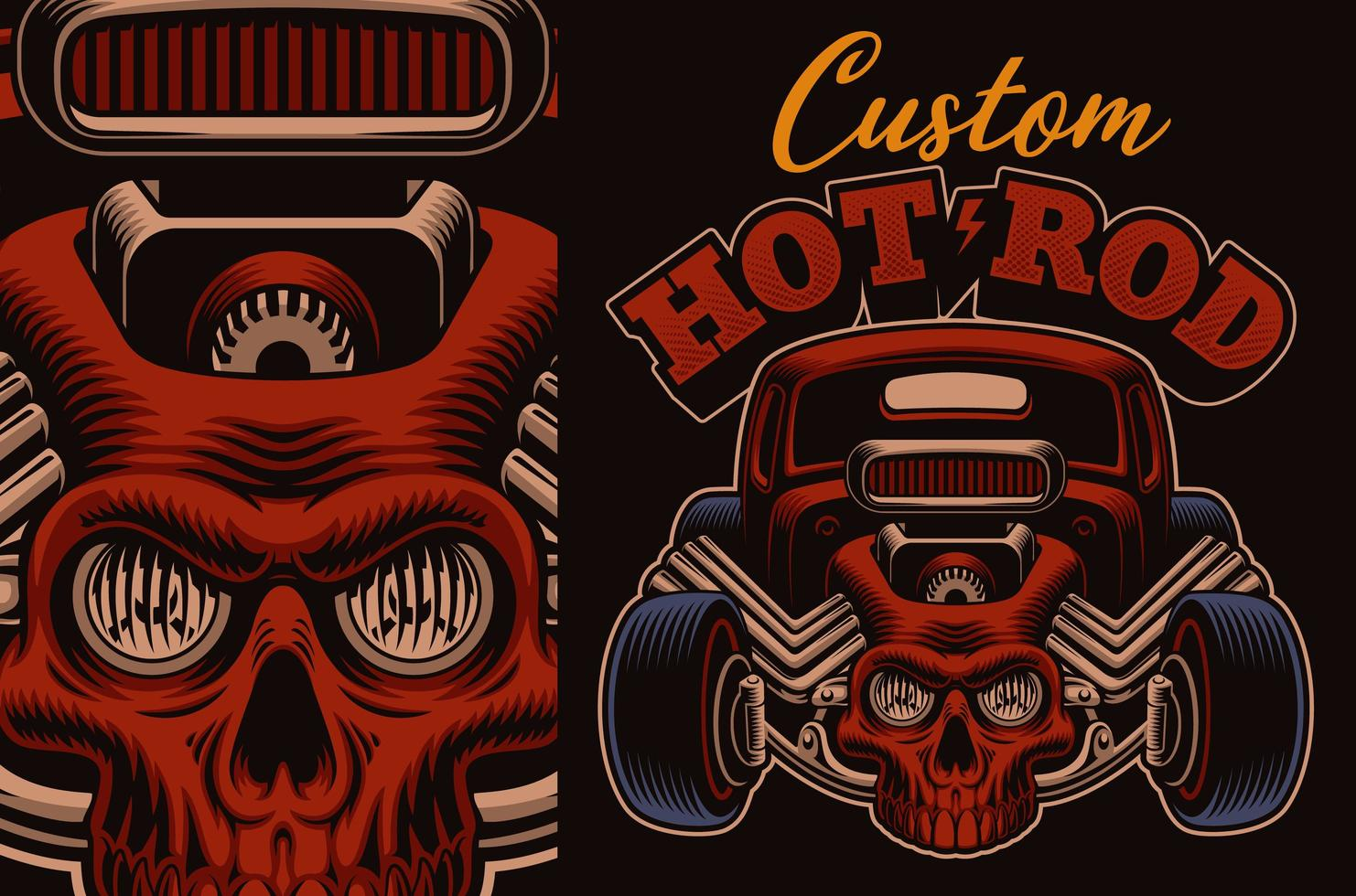 Cartoon Hot Rod With Skull Download Free Vectors Clipart Graphics Vector Art