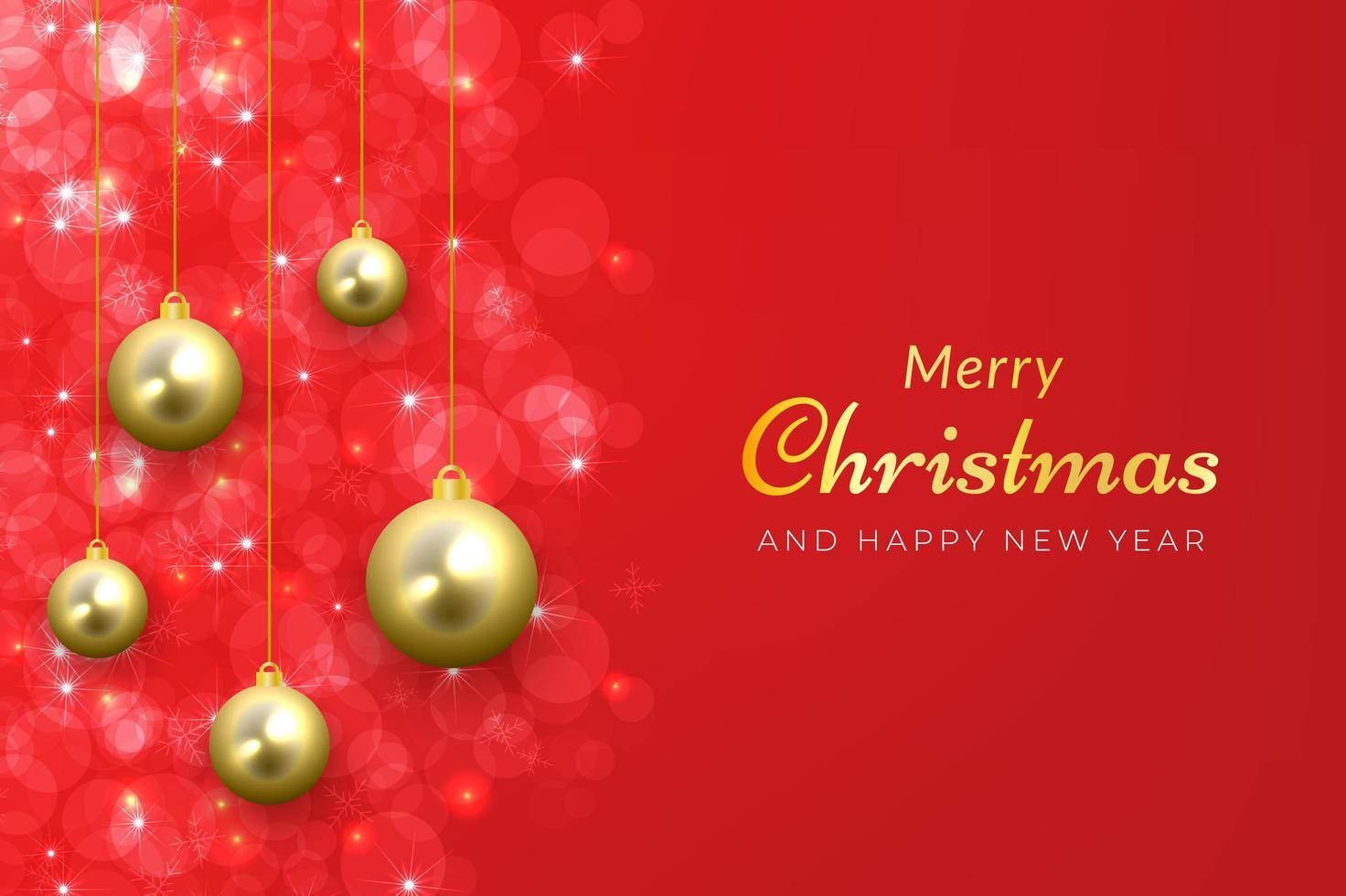 Fondo navideño en rojo brillante con adornos colgantes dorados. vector