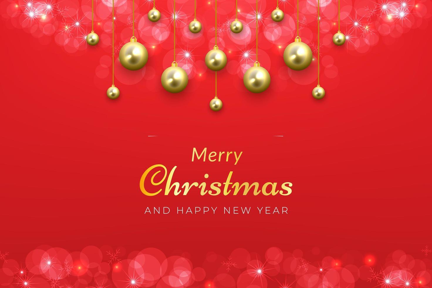 fondo de navidad en rojo con adornos colgantes dorados vector