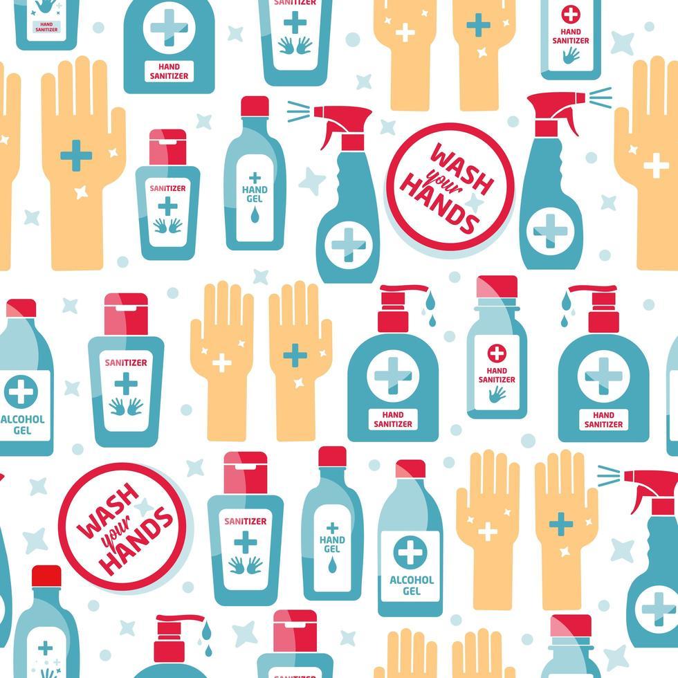 Hand sanitizer, alcohol bottle for hygiene seamless pattern vector