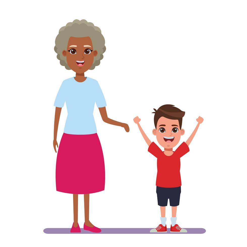Elderly woman and boy vector