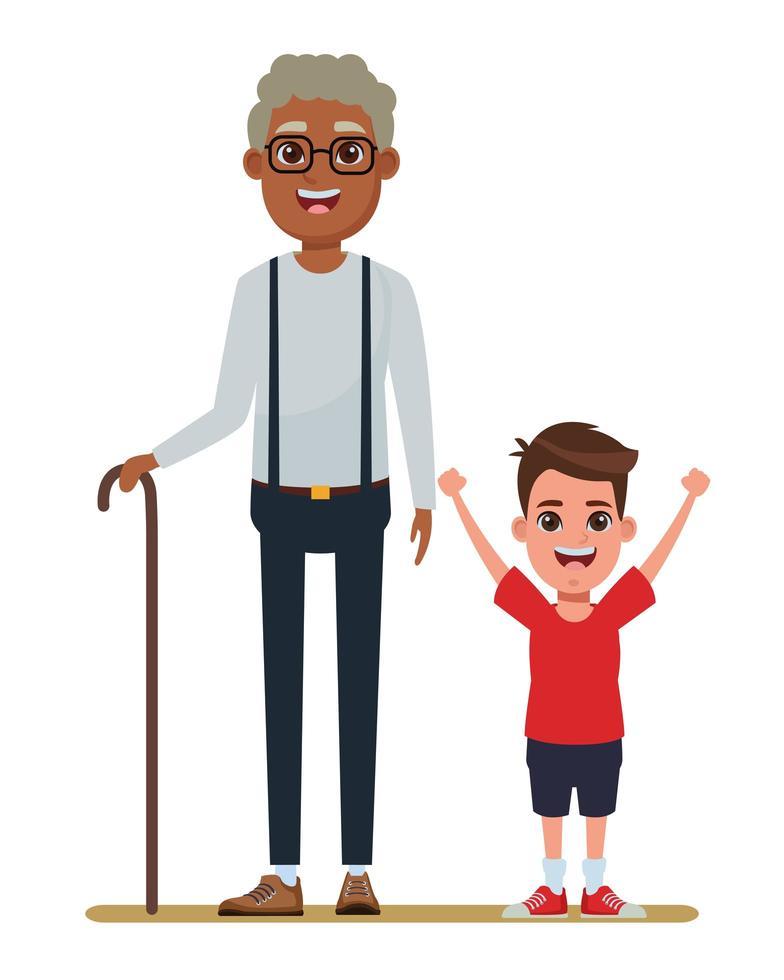 Elderly man and child vector
