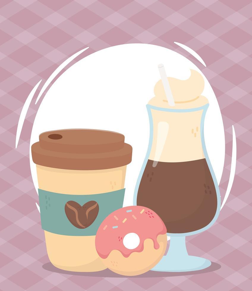 Composición de la hora del café con bebidas y donas. vector