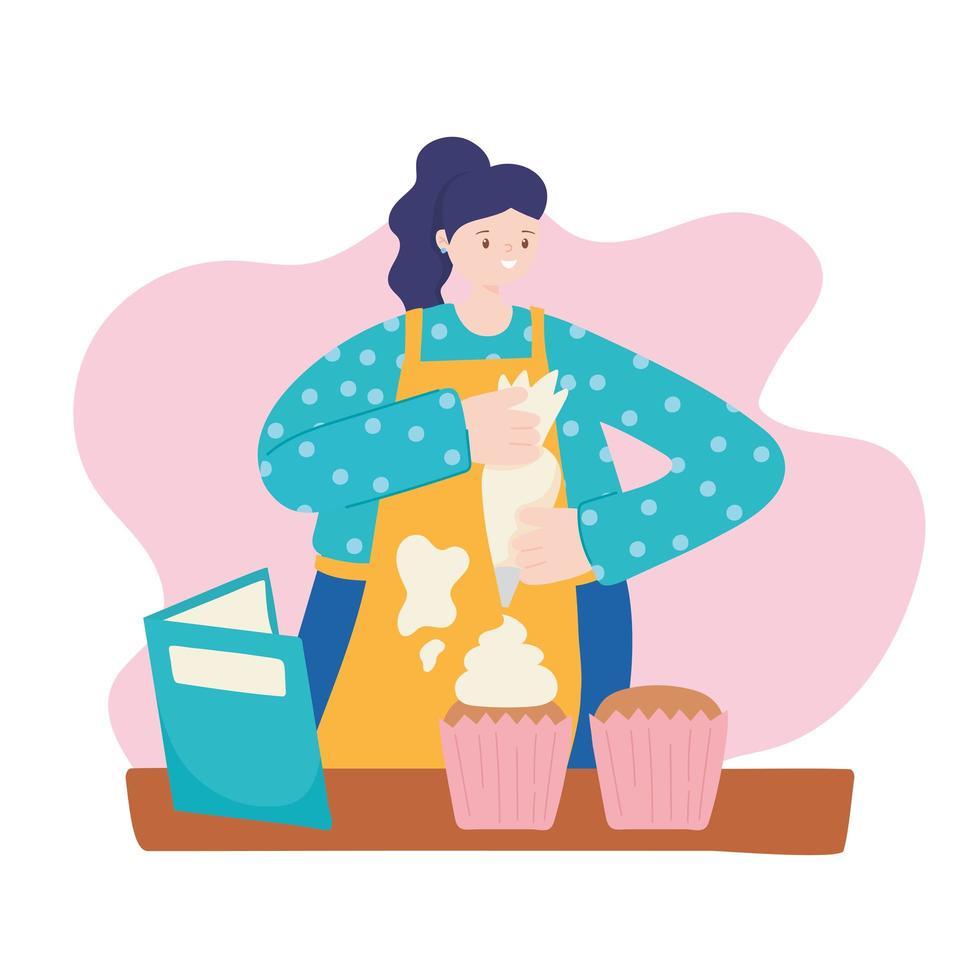 Baker Baking Cupcakes In Oven Stock Vector - Illustration of work, baker:  79891409