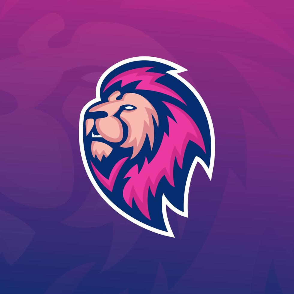Lion with Purple Mane Mascot vector