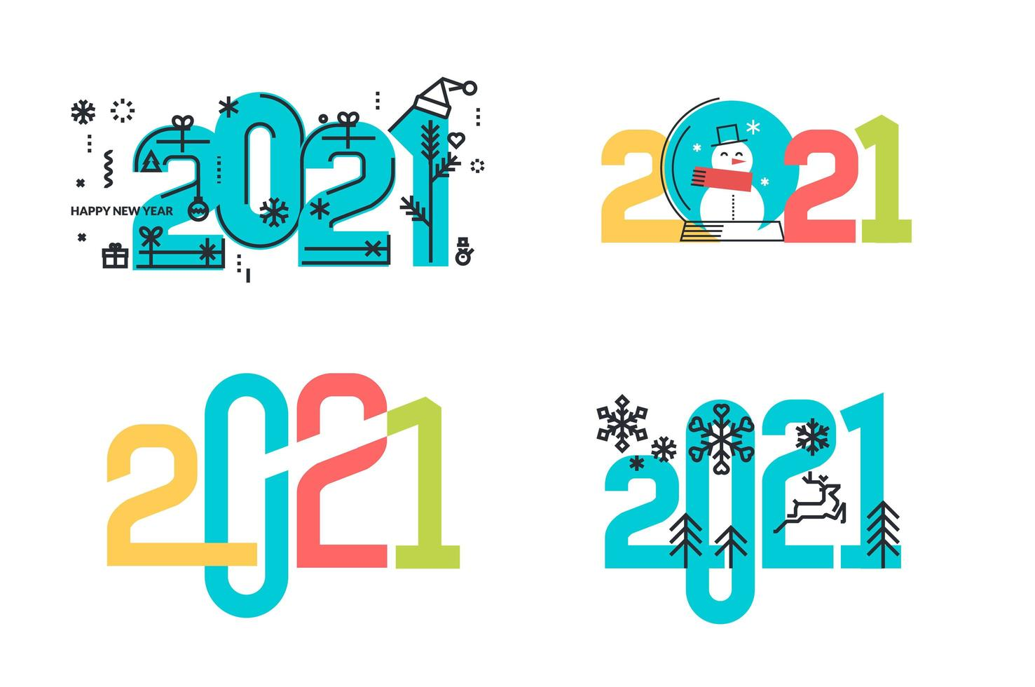 New Year 2021 signs set vector