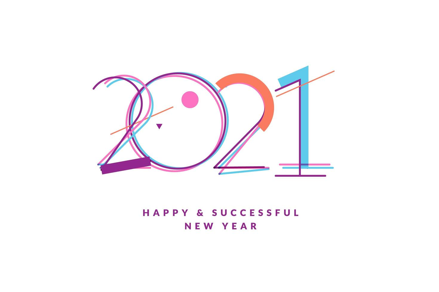 Happy New Year 2021 greeting card vector
