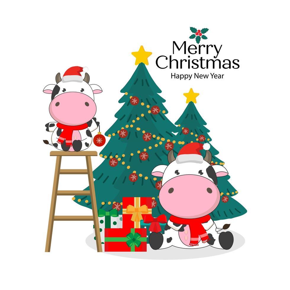 feliz navidad tarjeta con lindas vacas vector