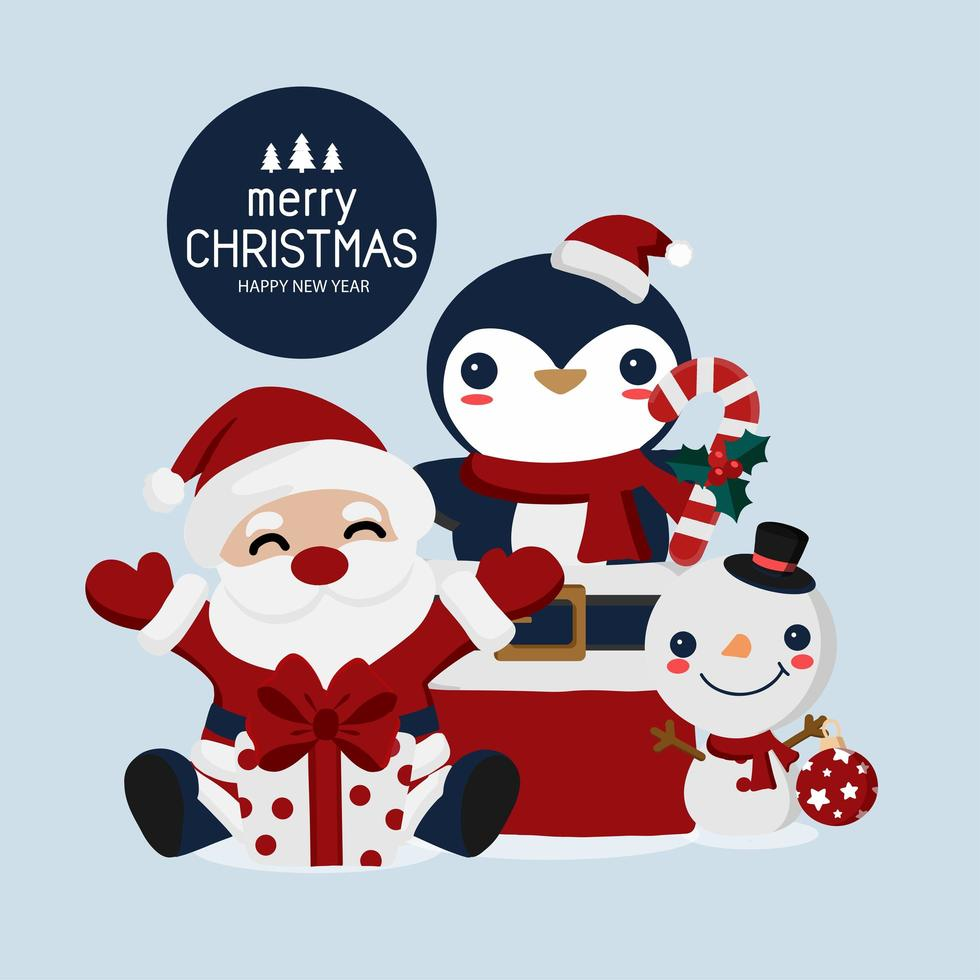 navidad y año nuevo santa y tarjeta de amigos animales vector