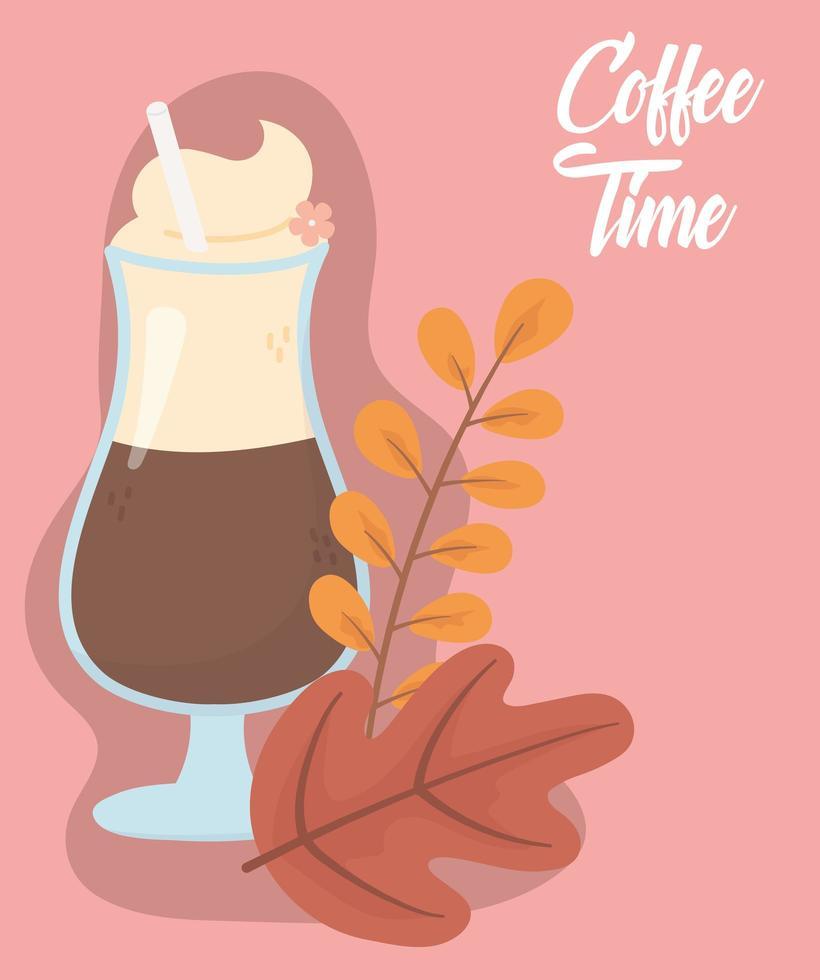frappuccino y hojas para el banner de la hora del café. vector
