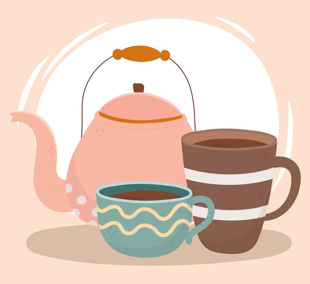 Composición de la hora del café con tetera y taza vector