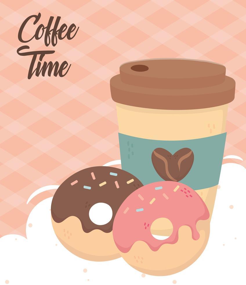 composición de la hora del café con donas vector