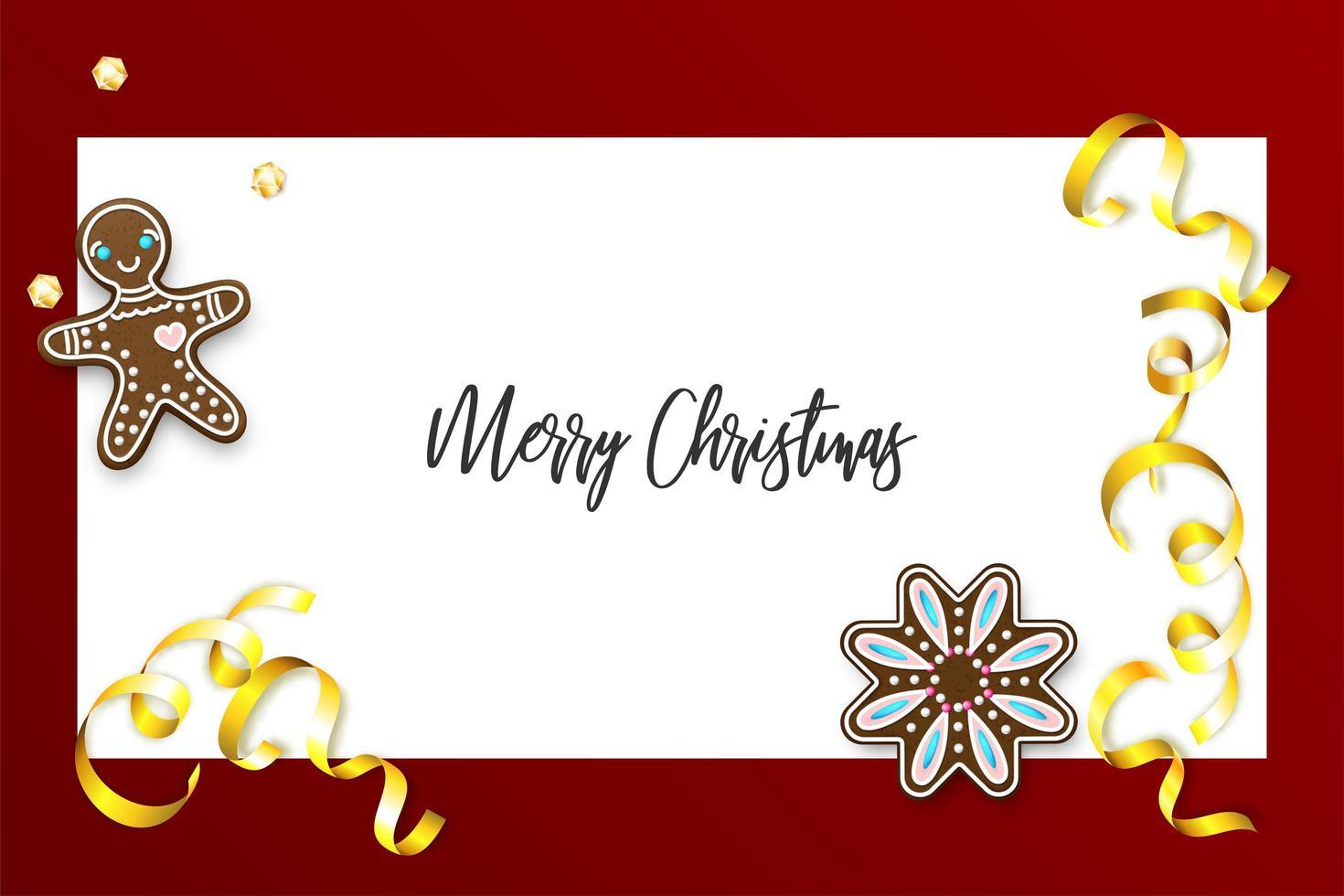 pancarta navideña de pan de jengibre y confeti vector