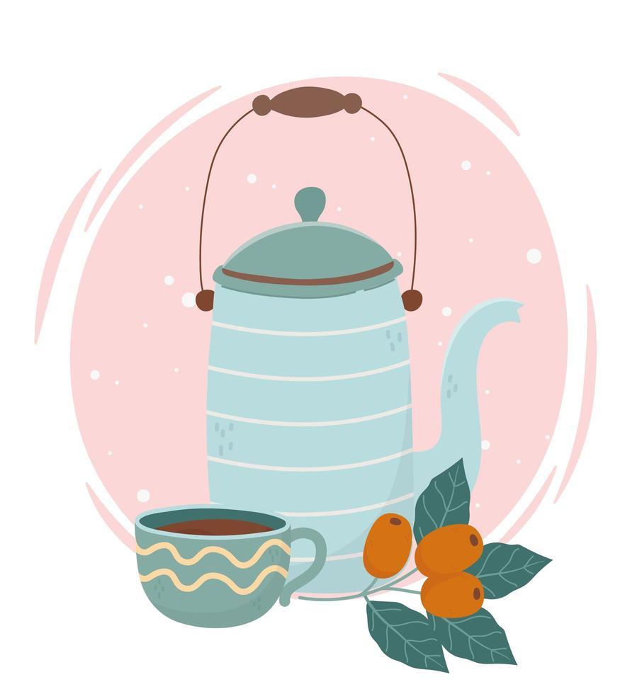 hervidor azul y taza con frutas de café vector