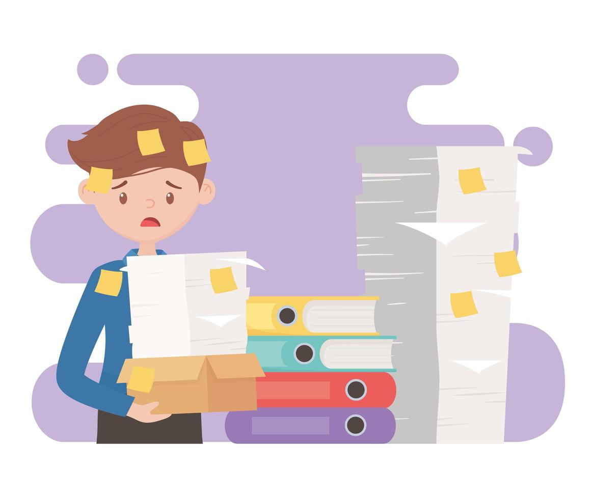 Stressed employee holding a pile of papers vector