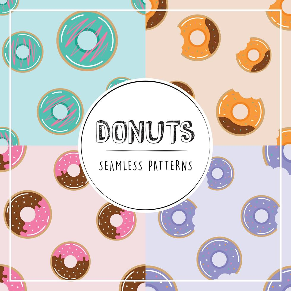 Donuts seamless pattern set vector