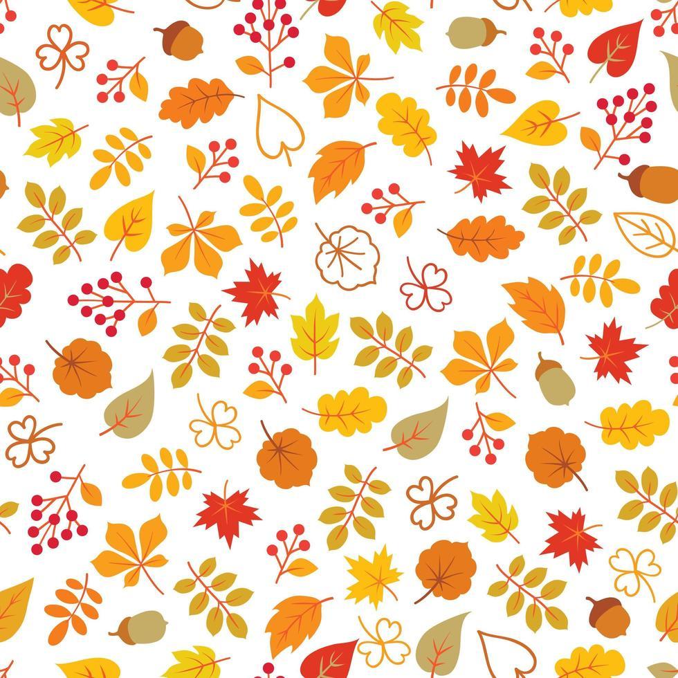Autumn leaves seamless pattern vector