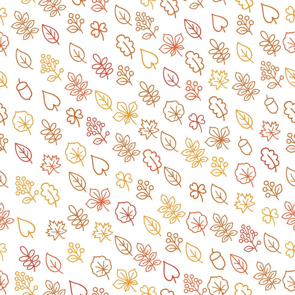 Autumn leaves outline seamless pattern vector