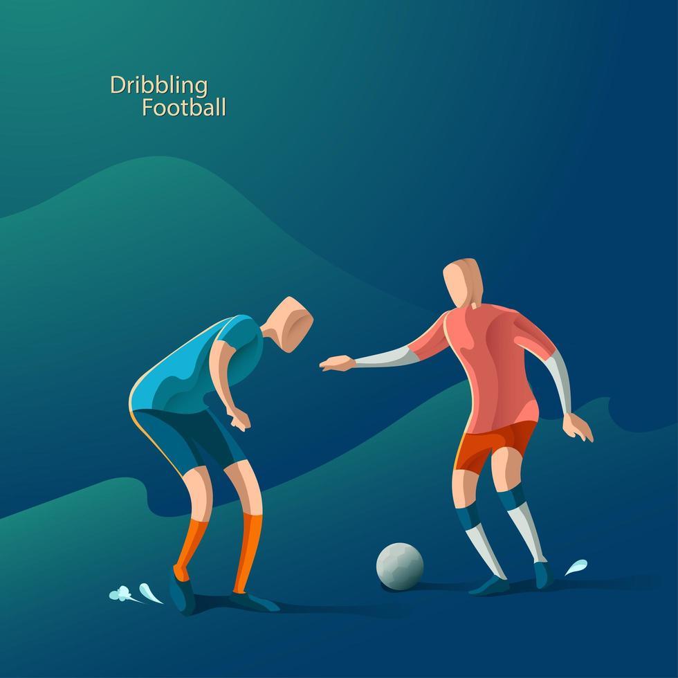 fútbol, jugador de fútbol bola lucha vector