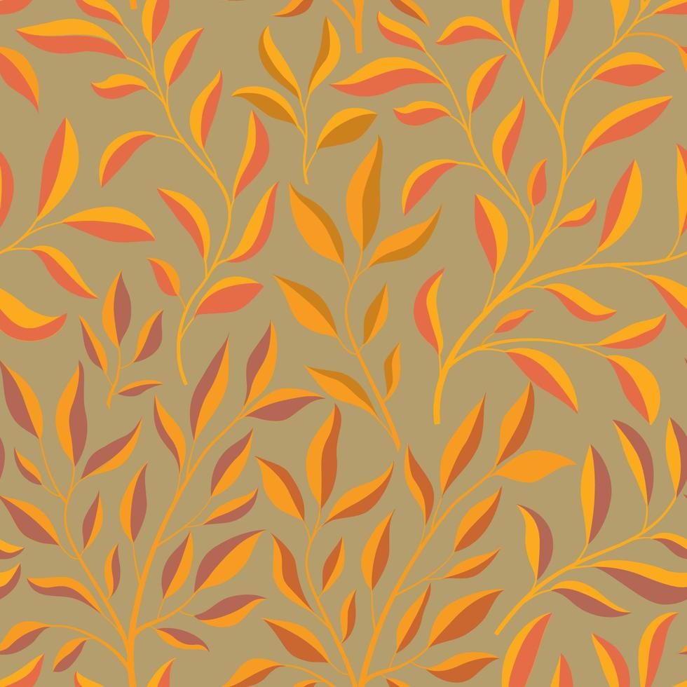Autumn leaves branch seamless pattern vector
