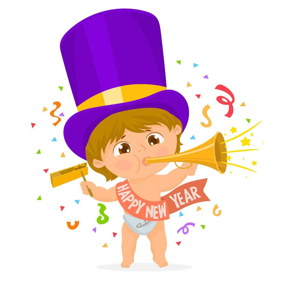 Little boy celebrating the arrival of the new year vector