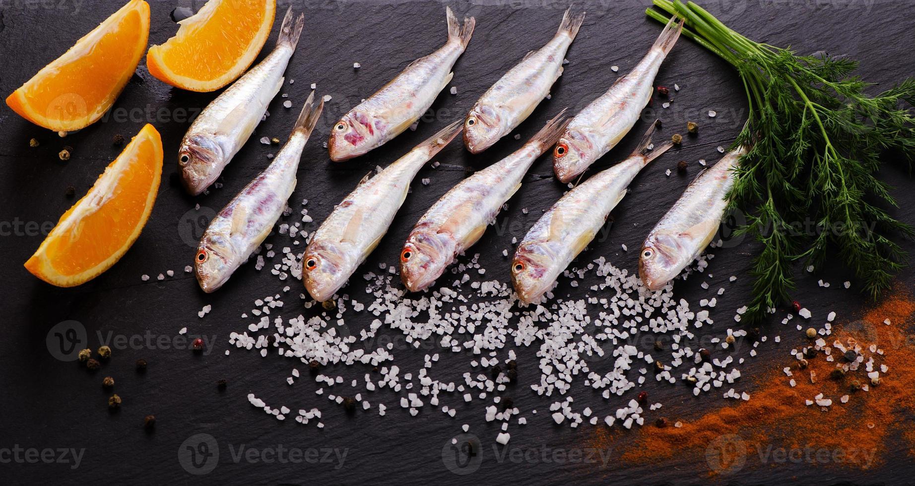 Fresh fish on a dark background photo