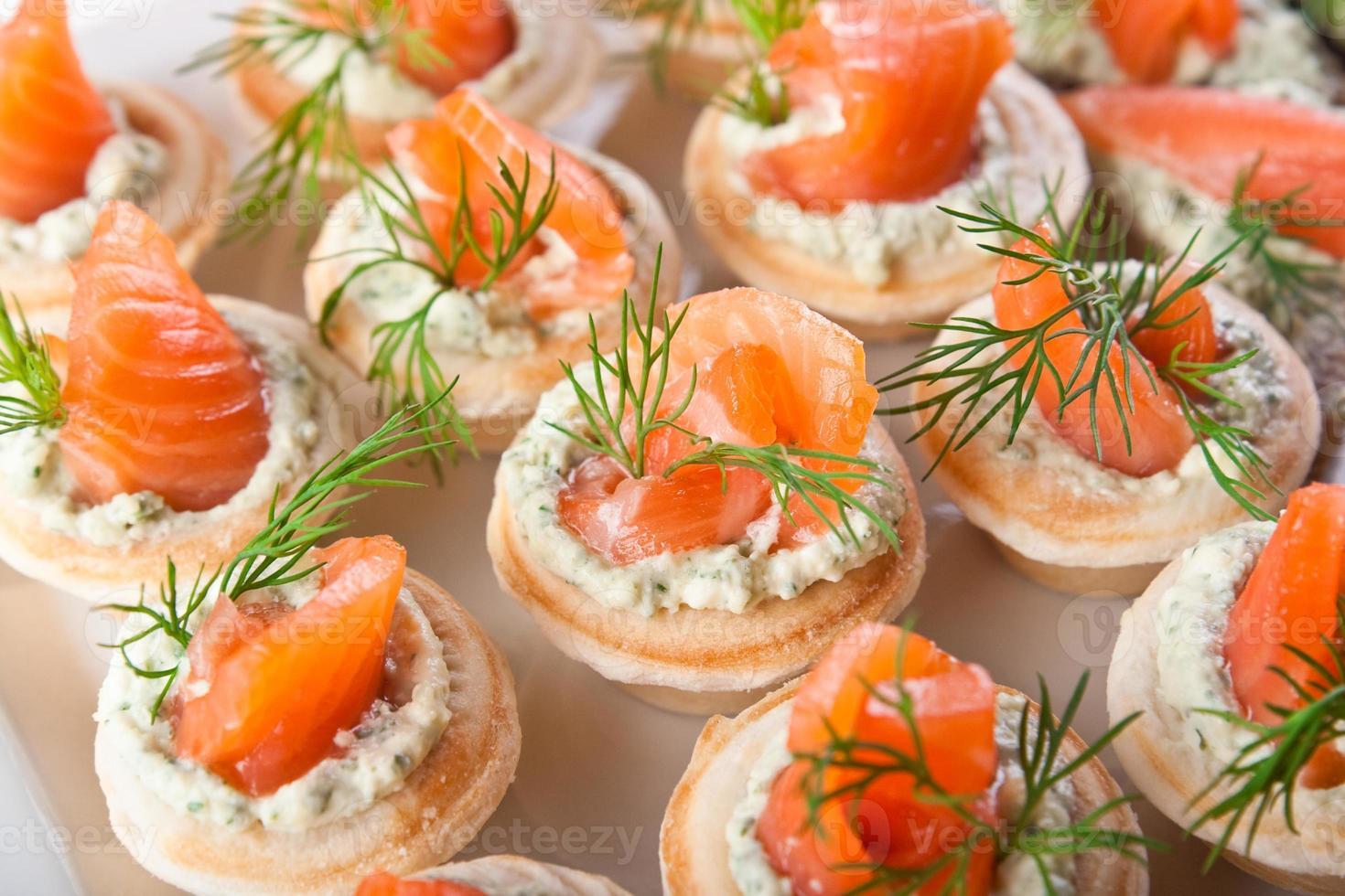 sabrosos bocadillos con salmón y relleno de cabaña foto