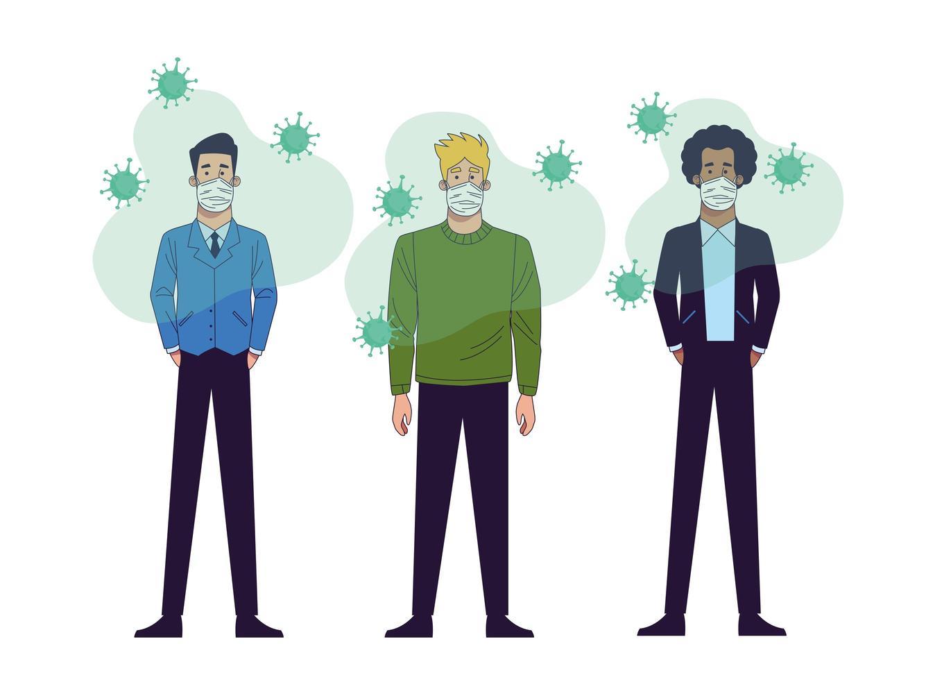 jóvenes hombres interraciales con personajes de máscaras médicas vector