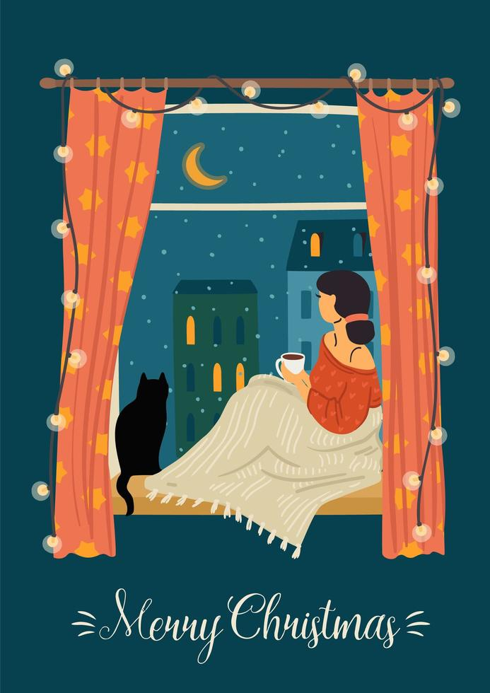 Woman looking out the window with her cat vector