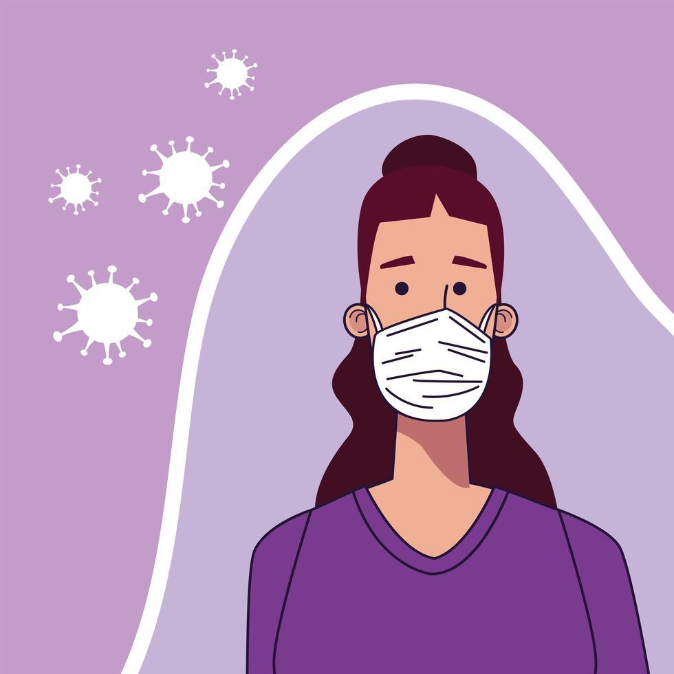 mujer joven con personaje de máscara médica vector