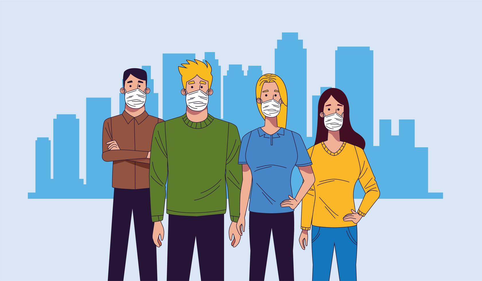 Young people wearing medical masks characters vector