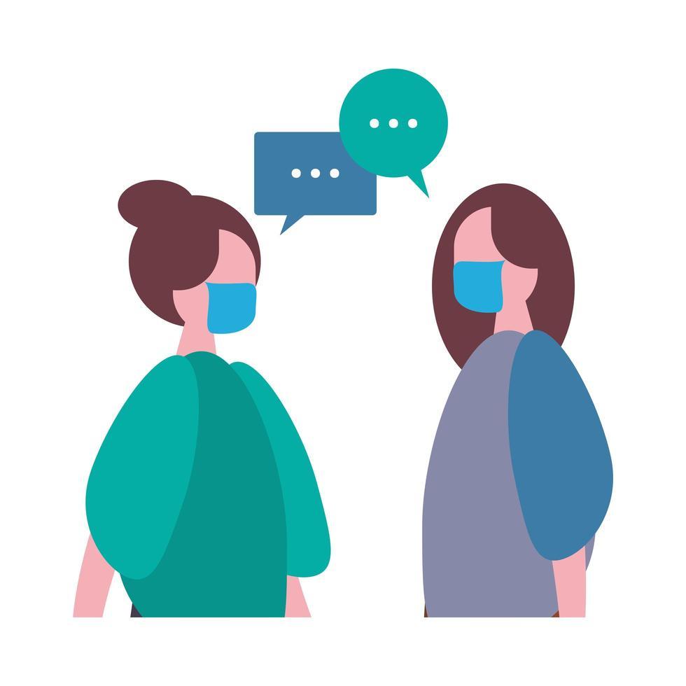mujeres hablando y con personajes de máscaras médicas. vector