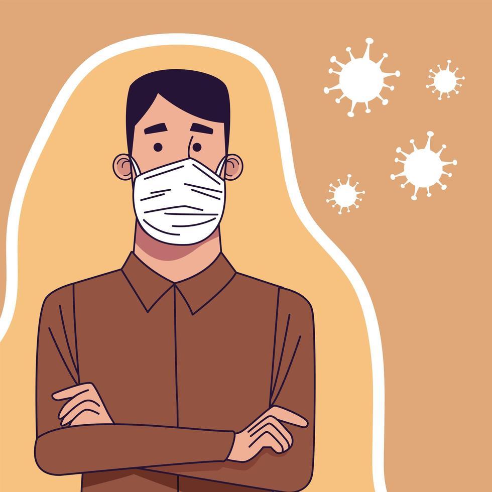 Young man wearing medical mask character vector