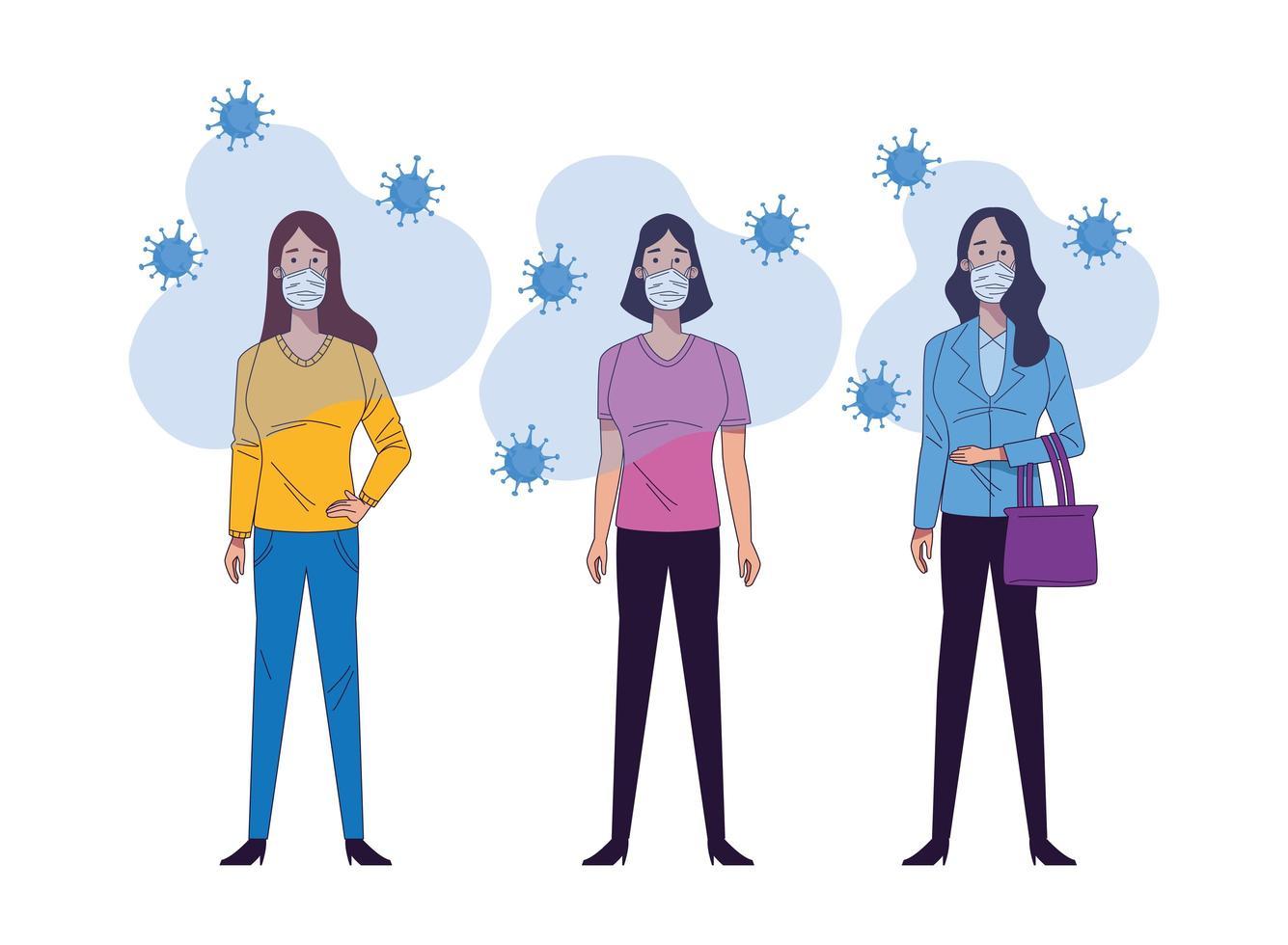 mujeres jóvenes con personajes de máscaras médicas vector