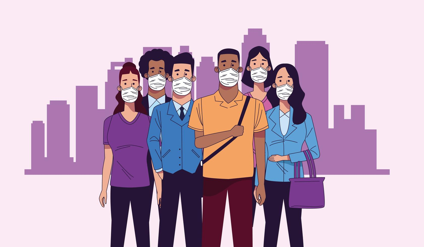 Young interracial people wearing medical masks characters vector