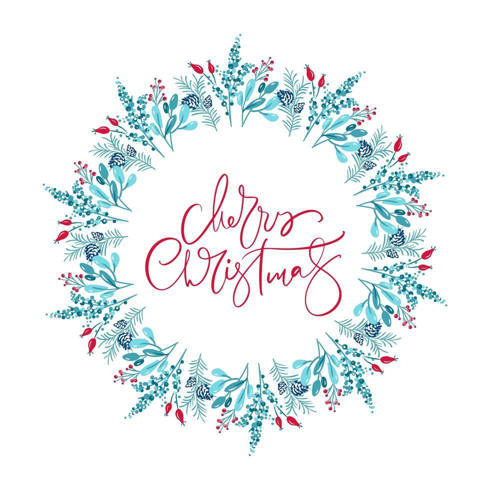 feliz navidad texto en guirnalda floral de invierno vector