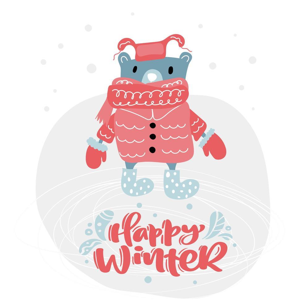 oso con ropa de invierno y feliz texto de invierno vector