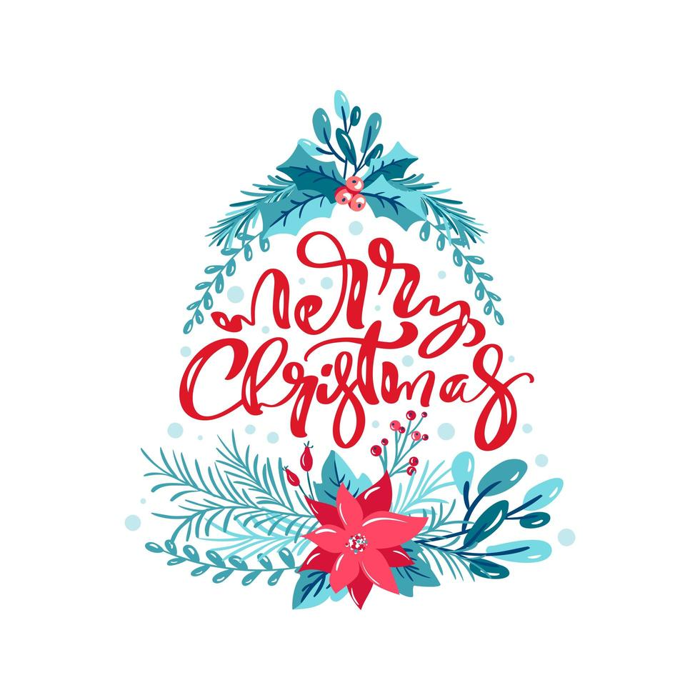 Merry Christmas with floral elements in tree form vector