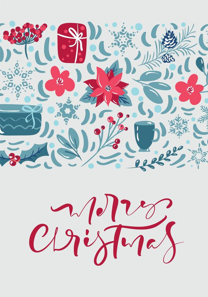 Merry Christmas greeting card design with floral decoration vector